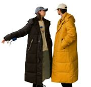 Winter Menand039s Hooded Overcoat Cotton Padded Overknee Long Quilted Jacket Plain L