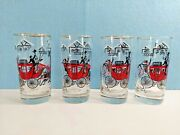 Libbey Stagecoach Hi-ball Glasses Tumblers Horse Carriage 4 Red Black Winter