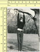 082 1970and039s Man Hanging From Tree Guy Hang Branch Abstract Vintage Photo Original