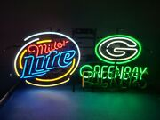 Miller Lite Beer Green Bay Packers Motion Moving Flashing Neon Light Up Bar Sign