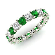 2.54 Ct Real Emerald Diamond Wedding Eternity Band 14k Solid White Gold Size 6