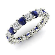 2.54 Ct Real Sapphire Diamond Wedding Eternity Band 14k Solid White Gold Size 6