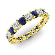 2.54 Ct Real Sapphire Diamond Wedding Eternity Band 14k Solid Yellow Gold Size 6