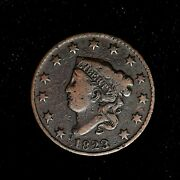 1823/2 1c Coronet Head Large Cent Overdate Variety Us Type Coin