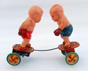 Vintage Old Rare Wind Up Boy Boxing Fight Wrestling Celluloid And Tin Toy Japan