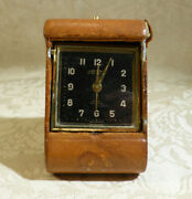 Vintage Looping 15 Jewel Swiss Made Travel Alarm Clock Tan Leather Working 8 Day