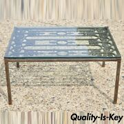 Vintage Wrought Iron Arts And Crafts Glass Top Art Nouveau Coffee Table