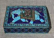 Solid Sterling 925 Silver And Enamel Trinket Box With Beautiful Elephant 897 Grams