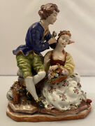 """Capodimonte Courting Couple Large 9""""h Porcelain Figurine Italy"""