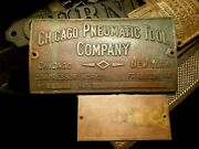 1910's Chicago Pneumatic Cp Antique Engine Franklin Pa Brass Plaques