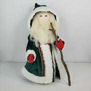 Primitive Country St Nick Santa Claus 20 Father Christmas Green Robe Staff