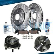 Front Drilled Rotors Cramic Pads Wheel Hub Bearing For 07-16 Jeep Wrangler W/abs