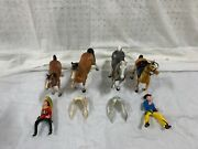 Slightly Used Vintage Lot Western Cowboy And Indian Riders Plastic Toy Hong Kong