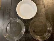 Vintage Fire King Usa Pie Plates Lot Of 3 Clear And Milk Glass Reverse Logo