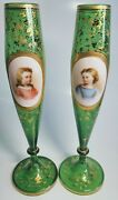 19th Century Bohemian Hand-painted Portrait Gilt And Green Glass Fluted Vase Pair