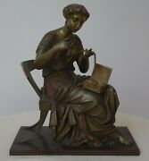 19th C Art Nouveau French Bronze Seated Female Beaded Necklace Jewelry Box