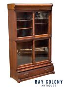 19th C Antique Victorian Oak Danner Stacking Barrister Bookcase