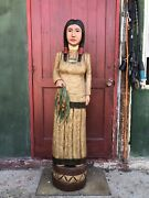 John Gallagher Carved Wooden Cigar Store Indian 5 Ft. Statue Corn Maiden Papoose