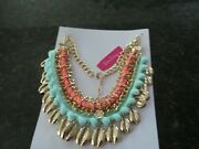 Lilly Pulitzer Coral Necklace/choker Pink And Blue/gold Conch