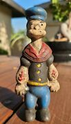 Popeye Cast Iron Piggy Bank Toy Antique Styled Vintage Patina Goofy Solid Metal