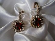 14k Yellow And White Gold Red Garnet And Diamonds Earrings