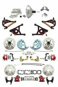 A F X Body Gm Red 2 Drop D/s Disc Brake Kit W/ Control Arms And Chrome Booster