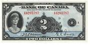 Canada Unc 2 Dollars English 1935 P-40 Bc-3 Osborne-towers Queen Mary Banknote