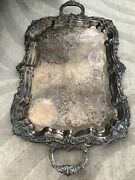 Vintage Newport Tray By Gorham 19th Century Silver Plated W Handles