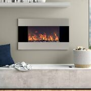 Stainless Steel Electric Fireplace With Wall Mount And Remote 36 X 22 1500w