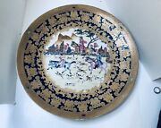 """Vintage Chinese Large Porcelain Charger Europian Hunting Seen 18"""" In Diameter"""
