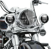 7 Led Projector Black Headlight + Passing Lights For Harley Road King Touring