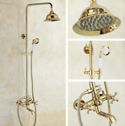 Gold Color Brass Wall Mount Shower Faucet Set With Handshower Tub Spout Zgf396