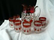 Pioneer 23 Ruby Flashed Pitcher And Six Tumblerswater Set Eapg