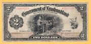 Canada Government Of Newfoundland 2 Dollars Vg/f 1920 P-a15 Nf-13 Rare Banknote