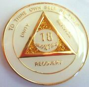 White Sparkle Alcoholics Anonymous 18 Months Aa Medallion Coin Chip Sobriety