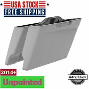 Unpainted Dual Cutout Stretched Saddlebags Bags Bottom For 2014+ Harley Touring