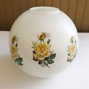 Gone With The Wind White Milk Glass Ball Lamp Globe With Floral Prints