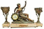 Antique Clock Mantle French Figural Marble Clock And Garnitures Three Piece Set