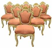 Chairs Baroque Style Set Of Six Uholstered Parcel Gilt Vintage / Antique Pink