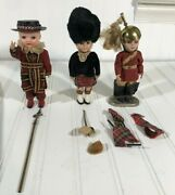 1950s British England World Wide Doll Club Vtg Antique Figure Lot Of 3 Beefeater