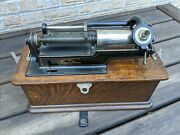 Edison Standard Phonograph 1900and039s 4 Minute Model H /w Horn And Records