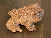 Vintage Signed Japanese Traditional Crafts Cryptomeria Wood Carved Frog Toad
