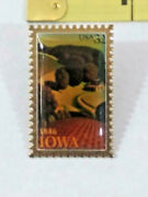 Collectible Lapel Pin 1846 Iowa 32 Cent Stamp Ships Free