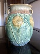 Large Roseville Sunflower Vase Pottery 1930and039s Vintage Mint Condition