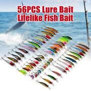 56-piece Assorted Fishing Lure Set Adaptable For Mixed Minnow Bass Crankbait