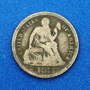 1875 Cc Seated Liberty Silver Dime 10c Better Key No Stars Carson City Coin