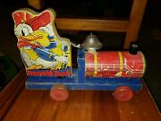 Vtg Fisher Price 450 Donald Duck Train Choo Ringing Bell Wood Litho Pull Toy
