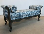 Ethan Allen Carved Mahogany U Shaped Window Bench Upholstered End Of Bed Bench
