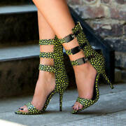 Lust For Life Tribe Buckle Stilettos Yellow Multi Strappy Sexy High Heel Sandals