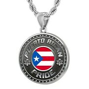 Menand039s Large 925 Sterling Silver Puerto Rican Flag Pride Medal Pendant Necklace